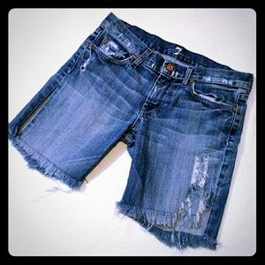 7 for all Mankind dojo cutoff shorts 28 frayed